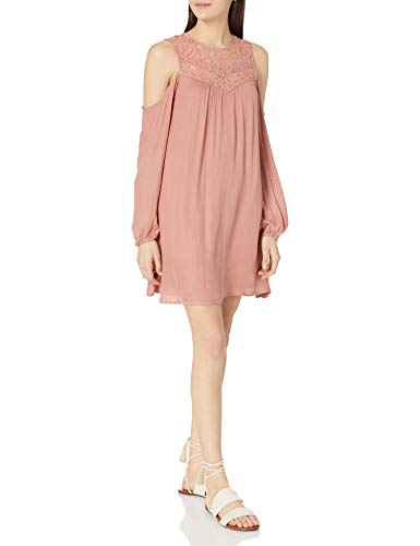 Jolt Women's Cold Shoulder L/s Dres with Lace Yoke, Peach Fawn/Perforated, X-Large