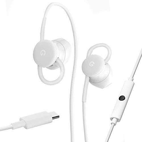 Google USB-Typ-C-Headset, kabelgebunden, digital, mit Assistent und In-Ear-Übersetzung für Pixel-Telefone, Weiß, S GA00485-US, G019BA88A, 73H00641-00M