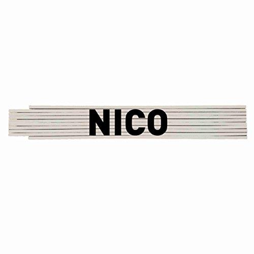 Zollstock mit Ihrem Namen: NICO Profiqualität ***** Hochwertiger Druck
