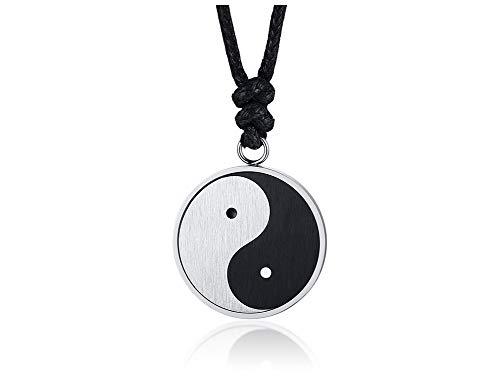 VNOX Chinese Philosophy Taoist Symbol Yin-Yang Taichi Yoga Stainless Steel Rhinestone Pendant Necklace (Rope Style)