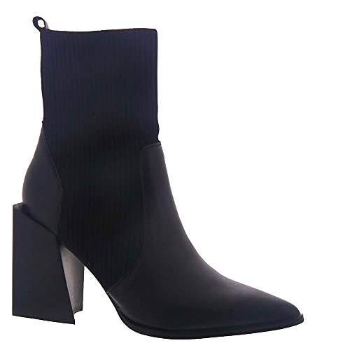 Steve Madden Women s Tackle Ankle Boot, Black Leather, 10