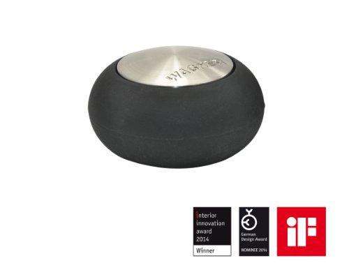 WAGNER Design-Boden-Türstopper - Screw OR Glue/Schrauben oder Kleben - Metall gebürstet, Edelstahloptik, thermoplastischer Kautschuk, Durchmesser Ø 54 x 30 mm, Designpreis - 15517611