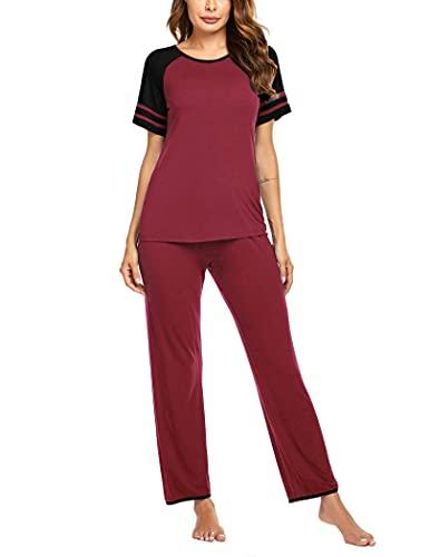 Ekouaer Pajama Set for Women Sleepwear Short Sleeve Top with Pants Nightwear Sets Wine Red Medium