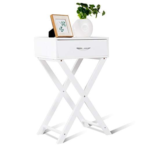 GIANTEX Nachttisch mit Schublade, Nachtkommode Nachtschrank aus Holz, 40x33x66cm, Kaffeetisch Beistelltisch mit X-Beinen für Schlafzimmer, Wohnzimmer, weiß