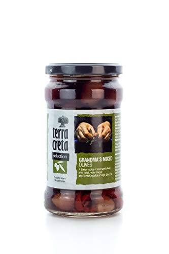 Griechische grüne Oliven Kreta Großmutters Variation mit Gewürzen + Honig im Glas 315 ml Terra Creta