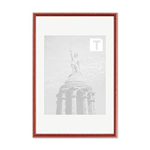Echtholz-Bilderrahmen Pia Rot 40 x 50 cm Echtglas Antireflex 2mm rund schmal elegant