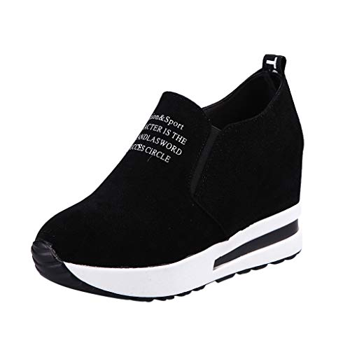 VJGOAL Damen Freizeitschuhe, 5CM Damen Lässige erhöhte Netto-Schuh-Turnschuhe Breathable Maschen-Steigung-Starke Plattform beschuht Pantoffel (35, Schwarz)