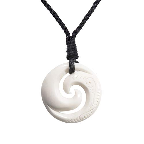 81stgeneration Hueso Tallado A Mano Maorí Doble Koru Espiral Tribal Collar Colgante de Hombre Mujer