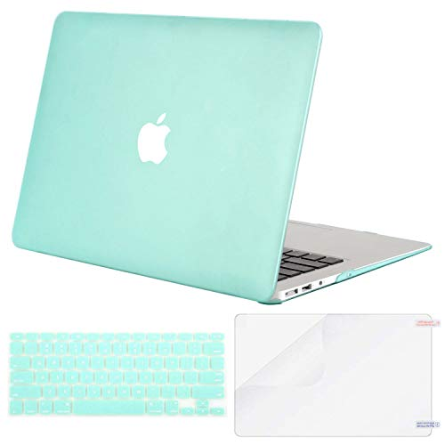 MOSISO Plastic Hard Shell Case & Keyboard Cover & Screen Protector Only Compatible with MacBook Air 13 inch (Models: A1369 & A1466, Older Version 2010-2017 Release), Mint Green