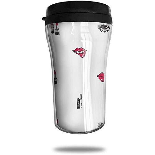 Zwarte hakken en rode lippenstift-patroon reiskoffiemok bedrukte draagbare zuignap, geïsoleerde thee-schaal-water-fles-beker