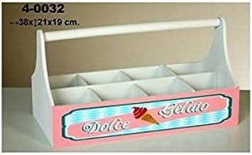 Blanco Madera Pide X esa Boca Dolce Gelato Caja Botellero con Asa y Huecos 19x38x20.5 cm