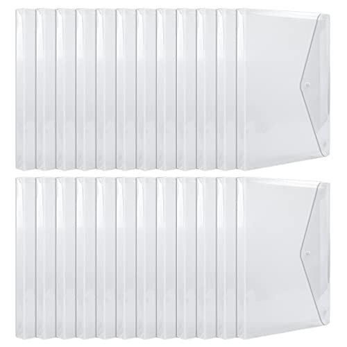 EOOUT 24pcs Plastic Envelopes, Clear Waterproof Folders with Button Closure and Expandable Gusset, A4 Size Letter Size, for School and Office Supplies