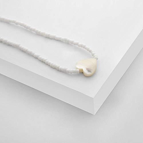 Hart Ketting Ketting Rijst Kralen Ketting Vrouwelijke Zoete Witte Shell Poeder Hanger Ketting Kleine Lover Gift