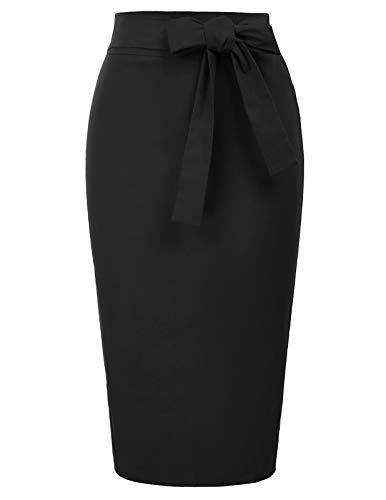 Belle Poque Rockabilly Rock damesetui potloodrok knielange hoge taille bodycon rok met strik BP016