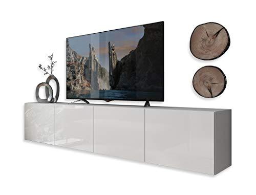 Lukmöbel Colgante 200 TV-Schrank Hängeschrank Weiß HochglanzHG Fernsehschrank mit LED Beleuchtung und Push to Open System TV- Bank Sideboard Lowboard Wohnwand Wohnzimmer