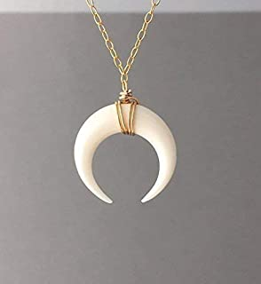 SMALL White Bone Double Horn Gold Necklace // Crescent Moon also in Sterling Silver and 14k Rose Gold Fill
