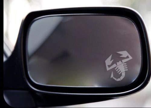 Abarth Skorpion-Aufkleber, für Fiat 500 595 Außenspiegel, Weiß, 2 Stück