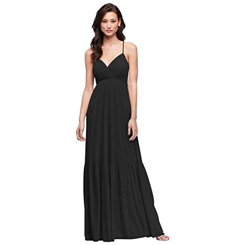 David's Bridal Surplice Mesh Bridesmaid Dress with Peasant Skirt Style F19771, Black, 22