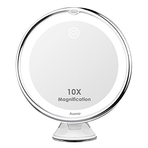 Auxmir Espejo Maquillaje con Luz LED, Espejo Cosmético Portátil con 10X Aumentos y Ventosa, Giratorio 360°, 3 Colores de Luz Regulable, Espejo de Mesa Pared para Casa y Viaje, Blanco