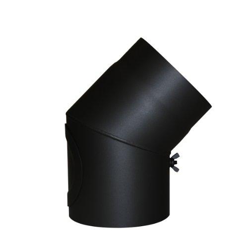 Kamino vlam boogknie zwart met deur, hoek van 45°, stalen uitlaatpijp met hittebestendige Senotherm coating, getest volgens norm EN 1856-2, diameter: ca. 150 mm.
