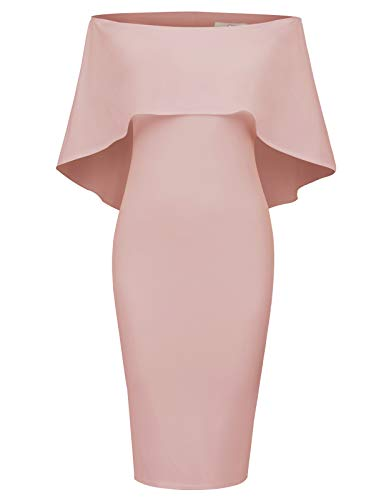 GRACE KARIN Women Off Shoulder Batwing Cape Midi Dress XXXL Pink (Apparel)