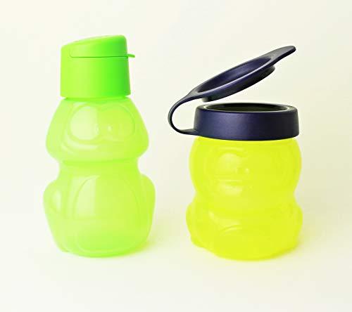TUPPERWARE EcoEasy Trinkflasche to go 350ml Motiv Frosch Grün + 300ml Snackbox Dino Gelb/Dunkelblau + Kugelschreiber