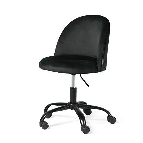 Bürostuhl mit Rollen Ergonomisch Verstellbar Hydraulische Drehhocker Höhenverstellbar Rollhocker mit Rücken Schreibtischstuhl 360° Drehhocker mit Lehne Rolling Bürohocker Schwarz
