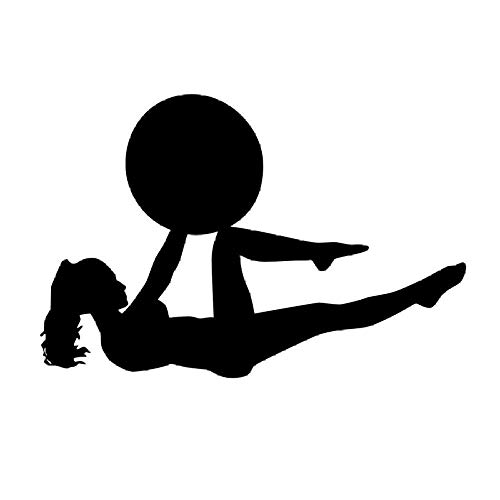 Chica Con Una Pelota Pilates Fitness Tatuajes De Pared Arte Yoga Deportes Ejercicio Gimnasio Papel Tapiz Vinilo Removible Adhesivo De Pared-86Cm X 58Cm