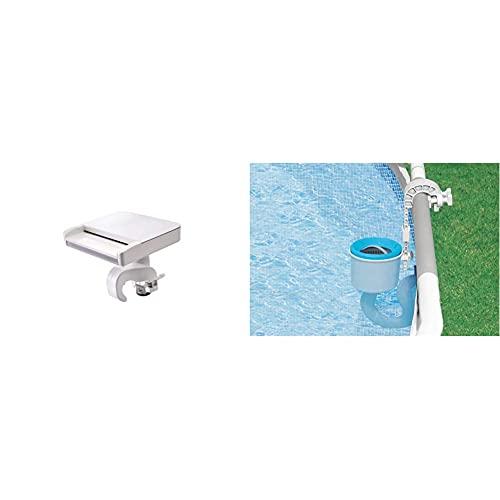 Intex 28090 Cascada Agua con Luces Led Multicolor + 28000 Skimmer Deluxe Filtro 3.028 litros/Hora, Easy Set Metal Frame