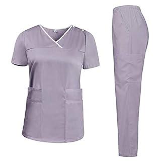 Aibrou Hospital Top de túnica de Matorral + Pantalones, Médicos Ropa de Trabajo Enfermera Traje
