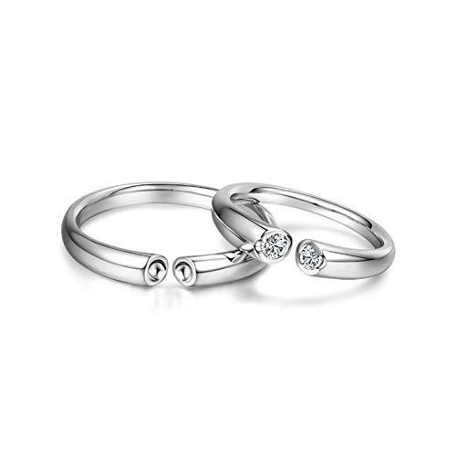 Bishilin Anillos para Parejas Anillo A Juego 18K Oro Mujer Talla 9,5 & Hombre Talla 30 Anillo Abierto Engastado con Un Diamante Diamante Alianza de Boda de la Eternidad del Aniversario Plata