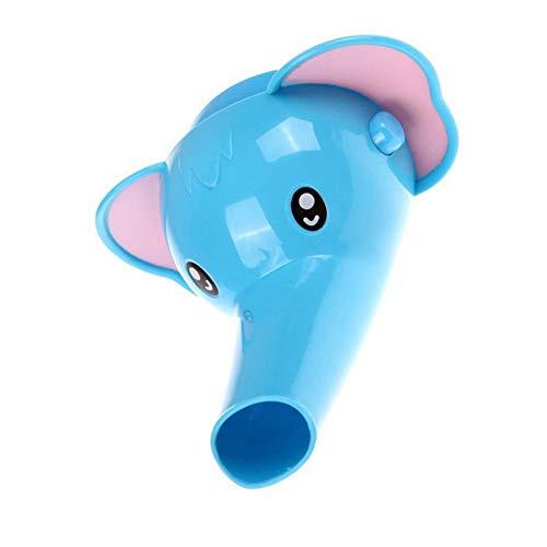 Ogquaton Premium Plastic Faucet Extender Animales de Dibujos Animados Forma baño Lavabo Grifo de Agua Extensor para bebés y niños Lavado de Manos Elefante Azul
