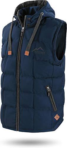 normani Outdoor Sports Wattierte Steppweste Bodywarmer - 100% Winddichte Outdoor Weste mit Lederpatch, Kapuze und Stehkragen Farbe Dunkelblau Größe XL/54