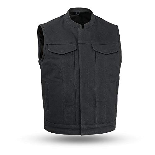First MFG Co. - 20 oz. Heavy Hitter - Men's Motorcycle Canvas Vest (Black, Large)