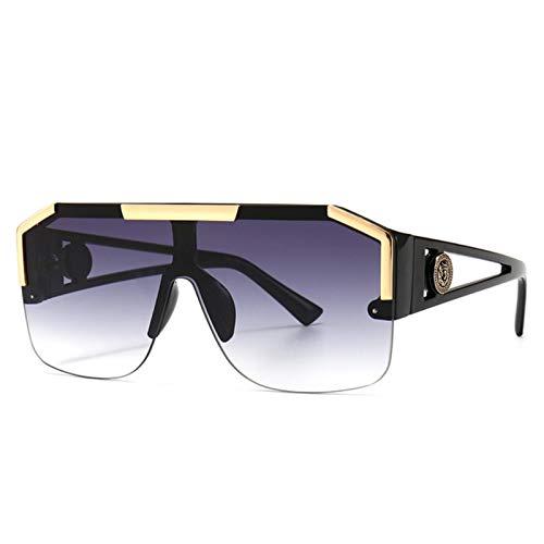 UKKD Gafas de sol cuadradas grandes de la manera de los hombres estilo gradiente conducción retro diseño gafas de sol Uv400
