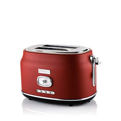 Westinghouse Retro Toaster 2 Scheiben klein - 2er Doppelschlitz Toaster mit Brötchenaufsatz, Krümelschale & weiteren Features, knuspriger Toast auf Knopfdruck, Farbe: Rot (matt)