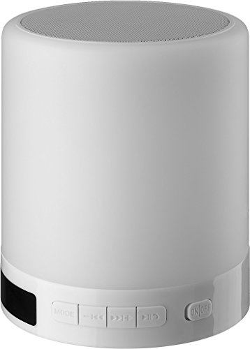 MONACOR 4007754250770 SLS-1 Bluetooth-Lautsprecher mit integrierter Smart-Touch-Beleuchtung weiß