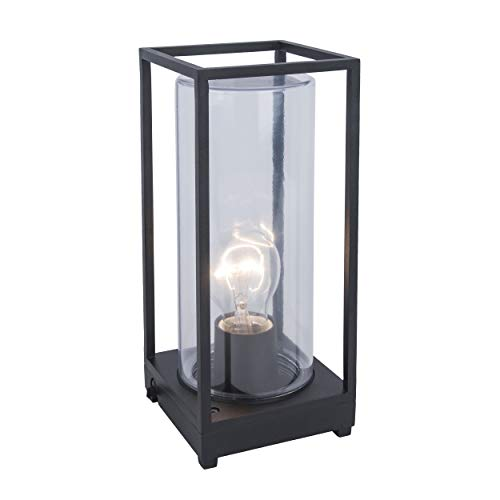 LUTEC Außentischleuchte FLAIR für E27-Leuchtmittel (max. 40W), 1.5m langes Kabel, Echtglas, robuster Aludruckguss, Vintage Look, Retro