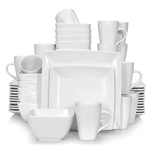 Vancasso Tafelservice Porzellan, 48 teilig SOHO eckiges Geschirrset für 12 Personen, Kombiservice Set, quadratisch