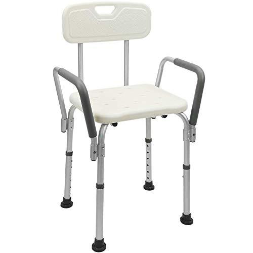 PrimeMatik - Sedia da Doccia Regolabile in Altezza con braccioli per Anziani