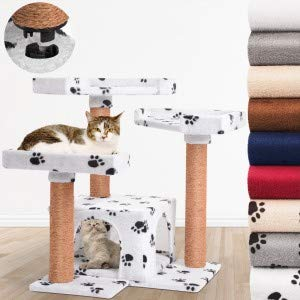 Leopet Quick Connect Cat Tree 66 cm High Cat Kitten Scratching Post Activity Centre with Large Lying Platforms and Fluffy Caves