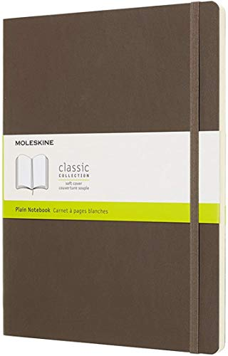 Moleskine Classic Notebook, Soft Cover, XL (7.5 x 9.5) Plain/Blank, Earth Brown, 192 Pages
