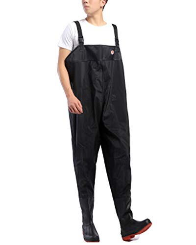 Pantalones Vadeadores De Pesca Honda Mono Botas Waders para Pesca De Lanzar Transpirables Unisexo Negro 65 43