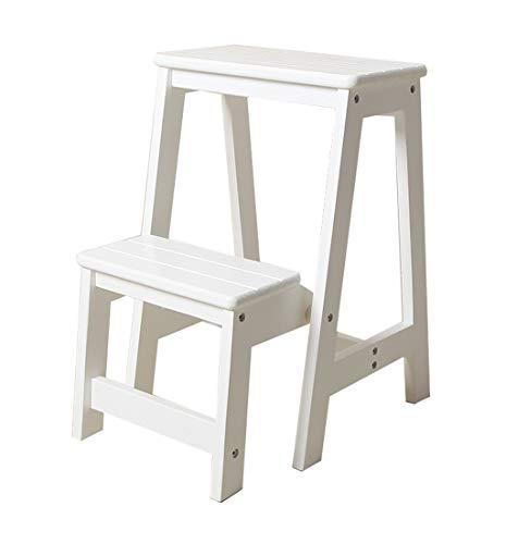 Klapptreppe Klapptritt Klappleiter Hocker aus Holz 2 Stufen Leicht und Klappbar Tritthocker für Zuhause Bibliothek Loft Leiterregale - 150kg Kapazität (weiß)