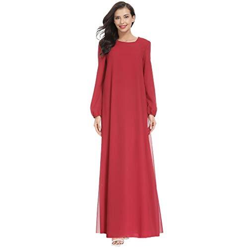 WUDUBE Mode Frauen Muslimische Robe, Frauen Muslimische Größe Solide Chiffon Arabian Kleid Islam Jilbab Kleid