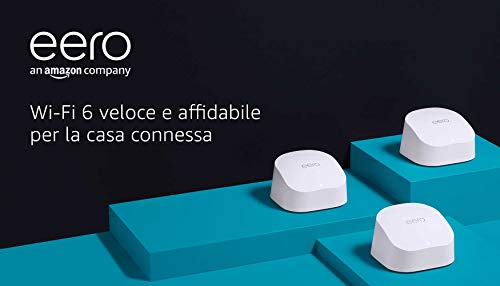 Nuovo sistema Wi-Fi 6 mesh dual-band Amazon eero 6, con hub per Casa Intelligente Zigbee integrato | Kit da 3 pezzi