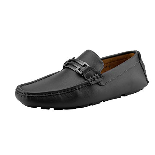 Bruno Marc Men's Hugh-01 Black Faux Leather Driving Penny Loafers Boat Shoes - 11 M US