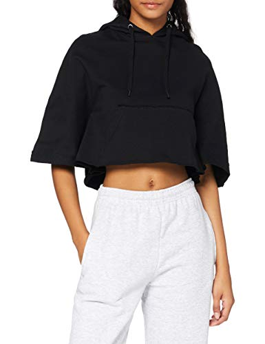Urban Classics Damen Ladies Cropped Hooded Poncho T-Shirt, Schwarz (Black 7), Medium