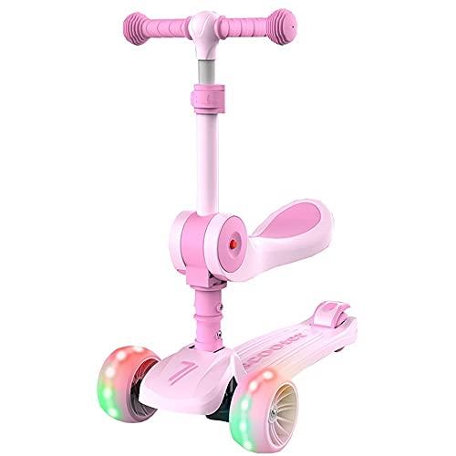 WHOJS Patinetes Patinete plegable para niños Altura ajustable Inclinarse para dirigir Ruedas intermitentes de PU Patinetes de 4 ruedas Los mejores regalos para chicos, chicas Construcción (Color:Rosa)