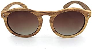 LUKEEXIN Retro Round Natural Zebra Wood Sunglasses Polarized Lens UV Protection for Men Women (Color : Brown)
